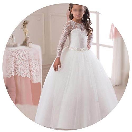 Fancy Flower Long Prom Gowns Teenagers Dresses for Girl Children Party Kids Evening Formal Dress for Bridesmaid Wedding,White -