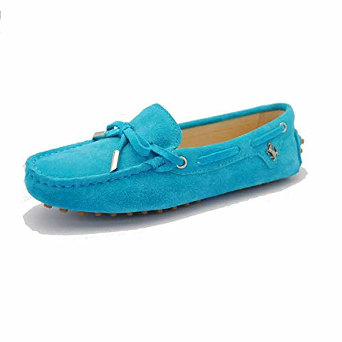 Minishion TYB9602 Womens Casual Suede Leather Loafers Driving Shoes Penny Moccasins Flats Turquoise 5HLU2mjJW