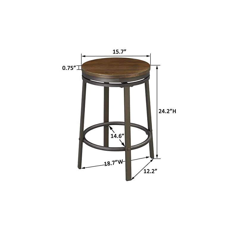 O&K Furniture 24-Inch Backless Swivel Bar Stool, Industrial Kitchen Counter Height Stool Chairs with Wooden Seat-Pub…