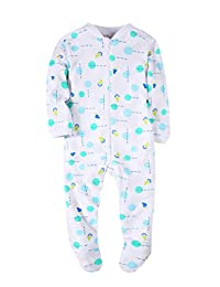 Baby Girls' Footed Pajama - Zip Front 100% Cotton Green Dots Sleeper 3 Months Sleep and Play