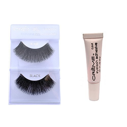 6 Pairs Crème 100% Human Hair Natural False Eyelash Extensions Black # 101 Dark Thick Lashes by Crème (Creme Eyelashes 101)