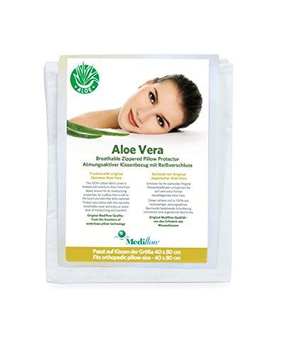 Mediflow 5023 Schon/Kissenschonbezug, getränkt mit Japanischer Aloe Vera, Premium Baumwolle, Reißverschluss, Passend für Wasserkissen 5001/5003/5011/5201 und alle anderen Kissen, Größe 40 x 80 cm