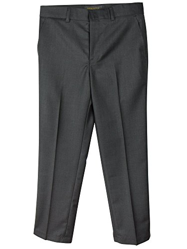 Spring Notion Boys' Flat Front Dress Pants 3T Charcoal (Boys Cinched Pants)