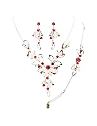 Silver and Ruby Red Color Statement Necklace, Bracelet and Earrings Set