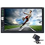 Carlike 7' Double DIN Touch Screen in Dash Bluetooth Car Stereo MP5 MP3 Audio 1080P Video Player FM Radio/TF/ USB/AUX-in/Suppport Rear View Camera + Remote Control