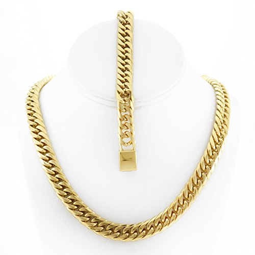 Solid 14k Yellow Gold Finsh Stainless Steel 12mm Thick Miami Cuban Link Chain Necklace & Bracelet Set (Miami Cuban Link Necklace)