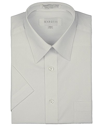 Marquis Men's Short Sleeve Solid Dress shirt - All Sizes - Colors (L (16.5), White) White Pointed Collar Dress Shirt