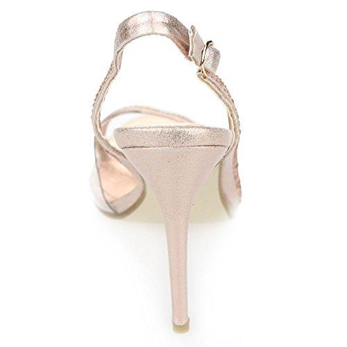 Aarz señoras de las mujeres de la tarde Banquete de boda del alto talón del dedo del pie abierto de las sandalias de novia Diamante tamaño de los zapatos (Oro, Plata, Champán, Rojo, Negro) Champán
