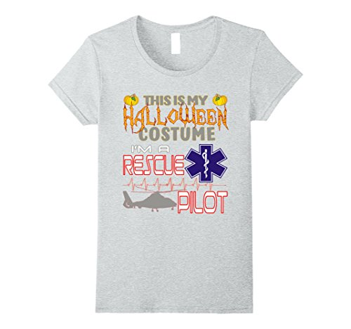 Working Costume Lady Hard (Womens Rescue Pilot Halloween Costume Shirt Small Heather)