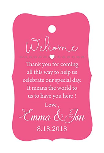 (100 PCS Wedding Welcome Personalized Wedding Favor Gift Paper Tags Custom Made Thank you Hang Tags)