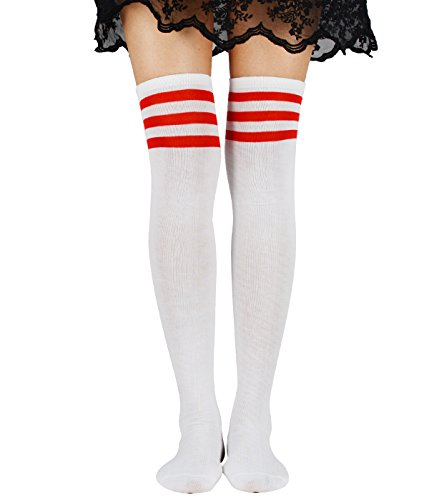 Women Schoolgirls Thigh High Stockings Kawaii Cosplay Over Knee Uniform Casual Athlete Long Tube Dress Socks With Stripes Hot Red (Halloween Costume Tumblr Girl)