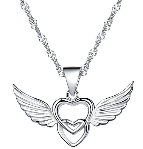 (Infinite U 925 Sterling Silver Double Hearts Angel Wings Pendant Necklace,Rose Gold/Silver)