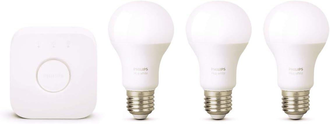 Philips 871869963026300- Hue Kit de iniciación blanco con 3x E279W,funciona con Alexa, cristal, 9W