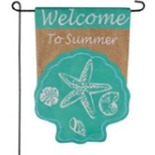Home Garden Flag -Seashell Welcome Beach Home Design - Waterfront Summer Garden Flag 12.5 x 18