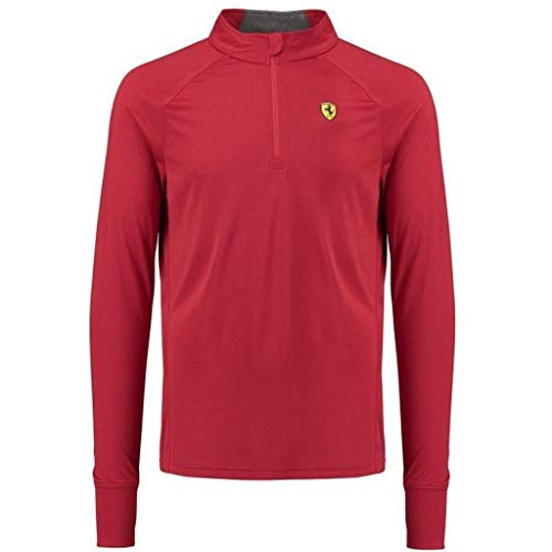 Scuderia Ferrari Formula 1 Men's 2018 Red Long Sleeve 1/2 Zip Midlayer Shirt (XL)