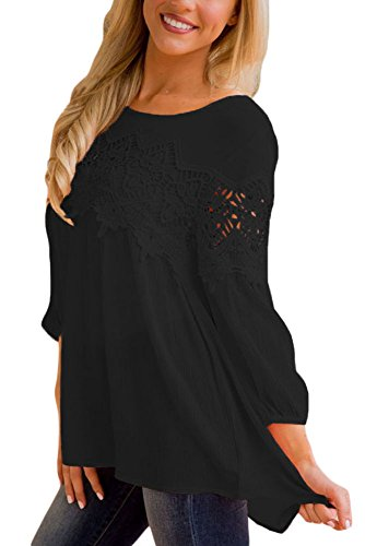 FARYSAYS-Womens-Casual-Crewneck-Lace-Crochet-High-Low-Long-Sleeve-Loose-Blouse-Tops-S-XXL