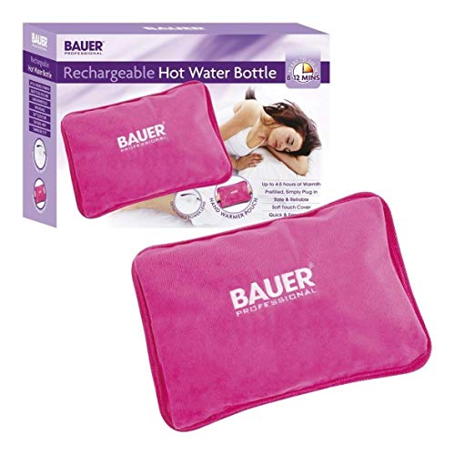 (Bauer Rechargeable Electric Hot Water Bottle with Soft Touch Cover Pink)