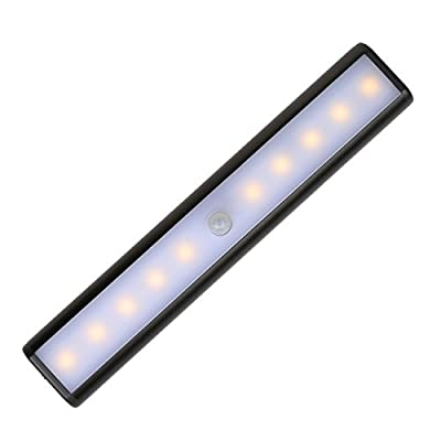 Wireless LED Under Cabinet Lighting Closet Lights BALFER Motion Sensor Activated Night Light Rechargeable Battery Powered Operated with Switch & Magnetic Tape Warm White (Black)