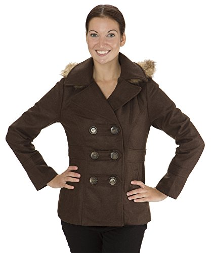 (8002) Dollhouse Classic Faux Wool Double Breasted Pea Coat with Fur Trim Hood in Dark Cocoa Size: S