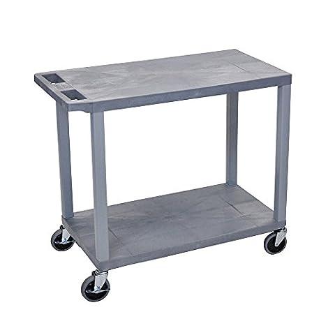 LUXOR EC22-G Cart with 2 Flat Shelves, 18