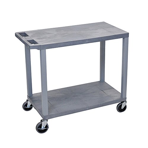 Offex 18 x 32 Inches Cart with 2 Flat Shelves, Gray