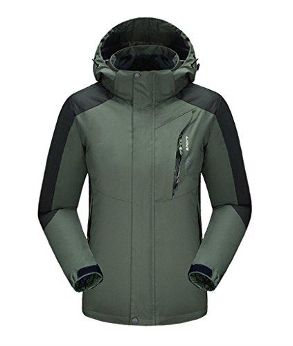J-SUN-7 Couple Mountain Jacket Fleece Windproof Ski Jacket(Blackish Green(Men),US L/Asian 2XL) by J-SUN-7