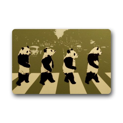Fashion Decorative Door Mat Rug Funny Panda Bear Crossing the Street Animal Art Indoor/Outdoor/Floor Doormat 23.6''(L) x 15.7''(W) by Panda Doormats
