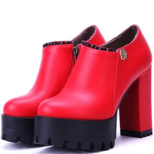 AllhqFashion Damen Reißverschluss PU Leder Rund Zehe Hoher Absatz Eingelegt Pumps Schuhe Rot