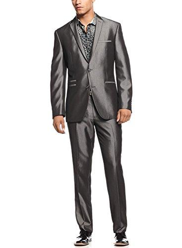 Bar III Slim Shiny Grey Herringbone Suit 38 Long 38L Flat Front Pants 31W