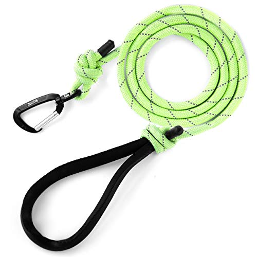 Mighty Paw Rope Dog Leash, Premium Climbers Rope, 6 Foot Long with Reflective Stitching, Climbers Carabiner Clip (6 Feet, Green)