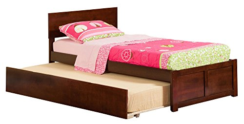 Atlantic Furniture Orlando Flat Panel Foot Board with Urban Trundle Bed, Twin, Antique Walnut (Trundle Bed Antique Walnut)