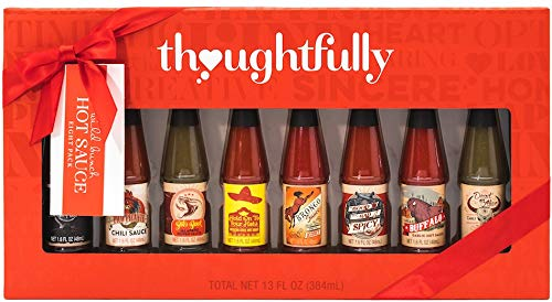 Thoughtfully Gifts, Wild Bunch Hot Sauce Gift Set, 8 Variety Pack, Includes 1.6 Ounce Bottles of Smokey Bourbon Hot Sauce, Pico Picante Hot Sauce, Buffalo Garlic Hot Sauce and Many More Unique Sauces