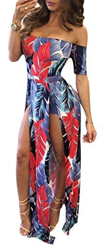 WorkTd Womens Off Shoulder Palm Leaves Multicolor Split Print Jumpsuit Maxi Dress Red (Red Leaf Print)