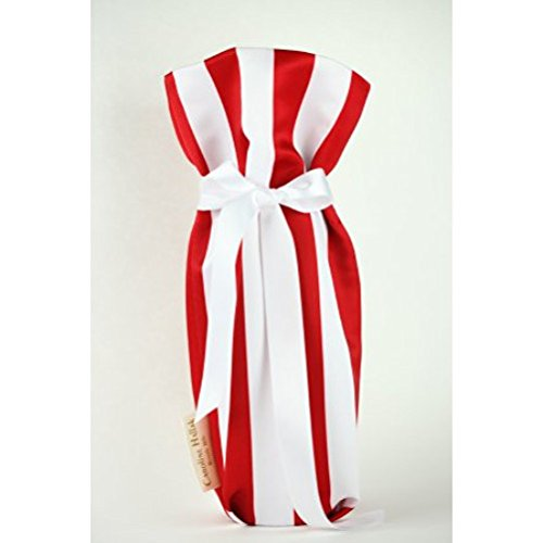 CHC-Beverly Hills PIKNIK, High End Wine/ Champagne Fabric Gift Bag, Satin White-Red and White Ribbon, One Size