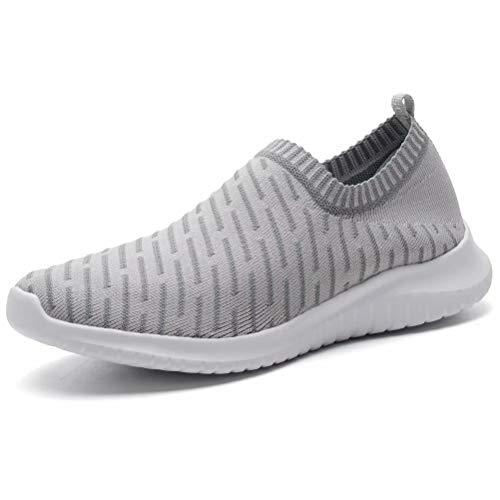 LANCROP Women's Comfortable Walking Shoes - Lightweight Mesh Slip On Athletic Sneakers 5 M US Grey