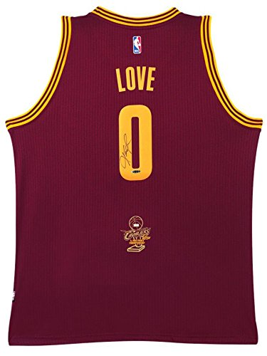 (KEVIN LOVE Autographed 2016 NBA Champ Logo Cavaliers Away Maroon Jersey UDA)