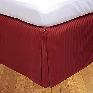 Brightlinen Burgundy Superking (180 X 200 Cm) Box Pleated Bedskirt Stripe (drop Length: 34 Cms) 1pcs
