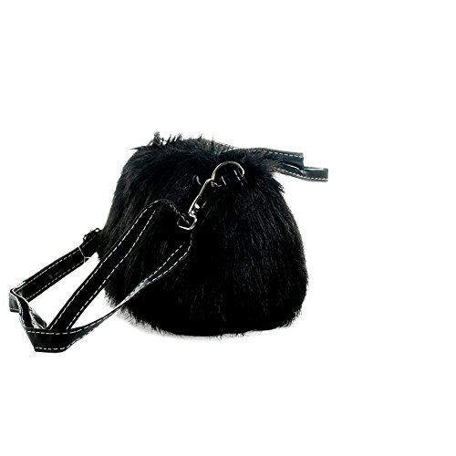 Wholesale Purses (Handbags Magicub Furry Faux Fur Tote Shoulder Bag Purse Messenger Bags (Black))