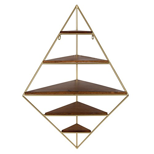 Kate and Laurel 213056 Melora Decorative Mid Century Modern Corner Wall Shelf with Gold Frame and Solid Wood Shelves, Walnut Finish, 5 ()