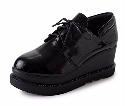 Cabeza Impermeable Sujeción Zapatos El Y Nueva Inglaterra Invierno De Otoño 34 Correa Única negro 7cm La Los Zapata Pintó Cuero Mujer Aumento Redonda Khskx Bizcocho CwYaqHx