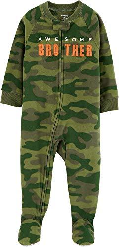 Carter's Boys' 1-Piece Zip-up Fleece Pajamas (Camo/Awesome Brother, 18 Months)