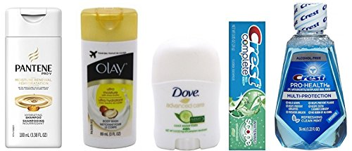 Travel Size Olay Body Wash + Pantene Shampoo + Dove Deodorant + Crest Scope Toothpaste + Pro Health Mouth Rinse
