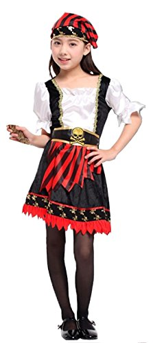 Cohaco Girls Sea Captains Pirate Role Play Contume (M (Height 43.3
