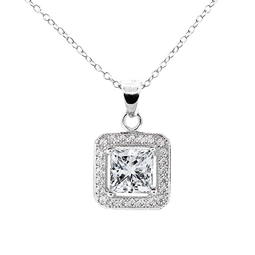 ROBERT MATTHEW Deals Layla 18k White Gold Pendant Necklace - Simulated Diamond Halo Necklaces with Solitaire Princess Cut Cubic Zirconia Crystals - Silver CZ Necklaces, MSRP 95 -