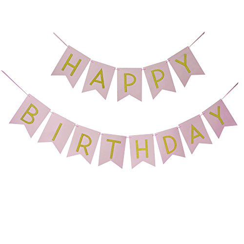 Wcaro Pink Happy Birthday Banner Happy Birthday Bunting Flag Happy Birthday Sign Glitter Gold Ribbon Letters & Light Pink Paper Background for Birthday Party Decorations Supplies