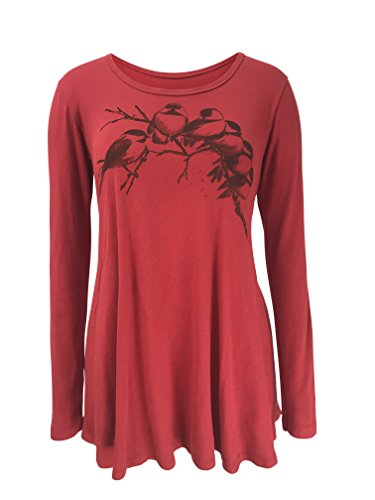 (Green 3 Chickadees Long Sleeve Baby Doll Tunic (Red) - 100% Organic Cotton Womens Tunic, Made in The USA (Large))