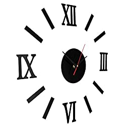 Pannow Vintage Roman Numerals Frameless Wall Clock 3D DIY Acrylic Mirror Sticker Home Decor Black
