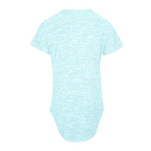 Col Zipper t Clair Classique Blouse Taille Sport XXL Mode Cher lgante Chic QinMM Grand Lache T Femmes Bleu Pas S Courtes Haut Tops V Chemisiers Manches Shirt Slim H8xqpO5