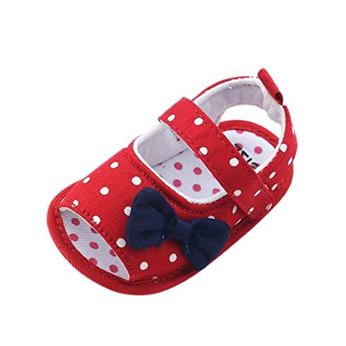 Newborn Infant Toddler Baby Girl Bow Knot Sandals First Walker Crib Shoes Prewalker Sneaker (6-12 Months, Red)