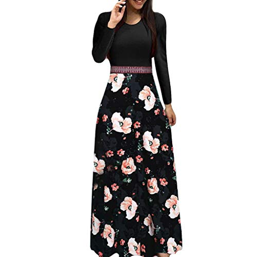 Limsea Women Casual Dress Long Maxi Dress 2019 Spring Summer Three Quarter Sleeve Floral Boho Bow Fit and Flare Ankle-Length Print Patchwork O-Neck Solid Color Evening Party Gown(Large,Black)